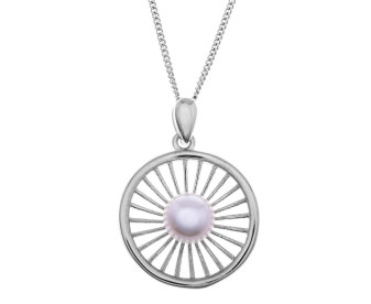 Sterling Silver Round Web Pearl Pendant
