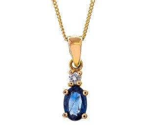 9ct Gold 0.55ct Sapphire & Diamond Drop Pendant