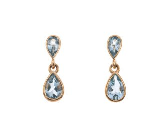 9ct Yellow Gold 1.10ct Aquamarine Drop Earrings