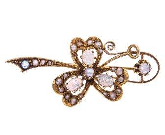 Antique Yellow Gold Opal & Split Pearl Brooch
