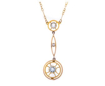 Antique 15ct Yellow Gold Aquamarine & split pearl pendant