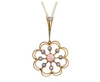 Antique 15ct Yellow Gold 0.20ct Opal & Split Pearl Flower Pendant