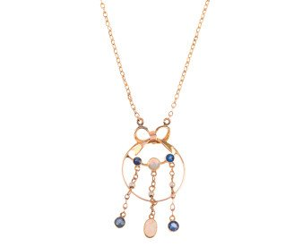 Antique Edwardian 9ct Yellow Gold Opal, Sapphire & Seed Pearl Necklace