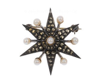 Antique Victorian Silver Pearl & Marcasite Star Brooch
