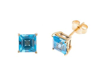 9ct Yellow Gold 1.40 Swiss Blue Topaz Solitare Stud Earrings
