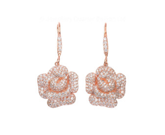 Sterling Silver & Rose Vermeil Cubic Zirconia Peony Bloom Earrings