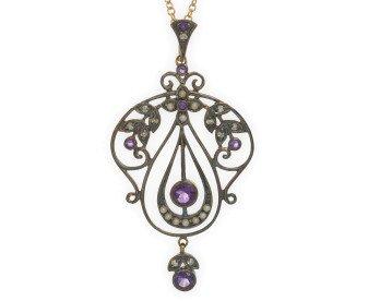 Amethyst, Seed Pearl & Diamond Pendant
