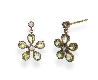 Georgian Inspired Peridot Diamond Flower Drop Earrings