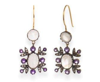 Edwardian Inspired Moonstone, Amethyst & Diamond Drop Earrings
