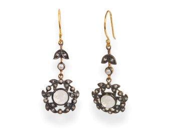 Victorian Inspired Moonstone, Diamond & Seed Pearl Drop Earrings