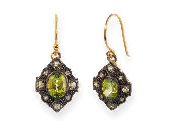 Victorian Inspired Peridot Diamond Drop Earrings