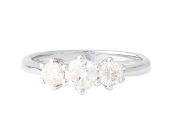 18ct White Gold Certified 0.77ct Diamond Trilogy Ring
