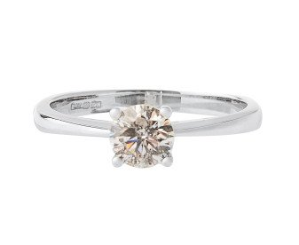 18ct White Gold Certified 0.51ct Diamond Solitaire Ring