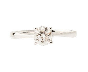 18ct White Gold Certified 0.54ct Diamond Solitaire Ring
