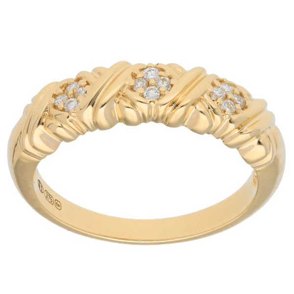 9ct Yellow Gold Diamond Cluster Band Ring