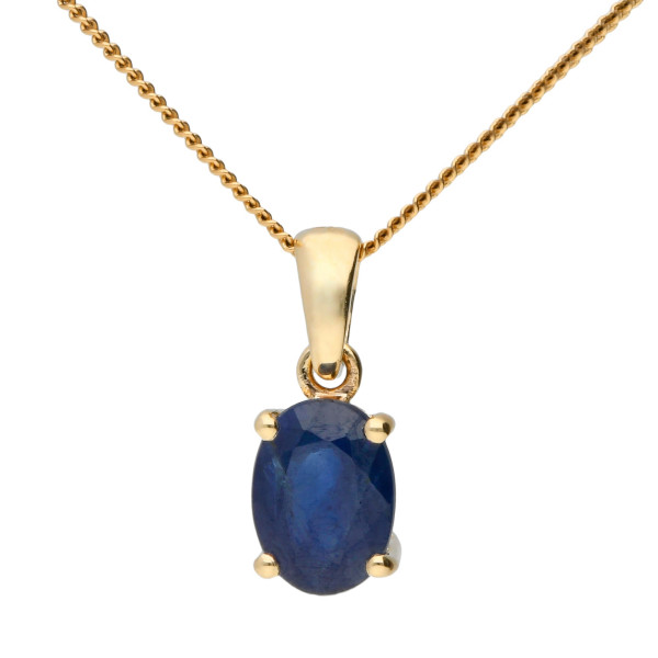 9ct Yellow Gold 7mm Sapphire Solitaire Oval Shape  Pendant
