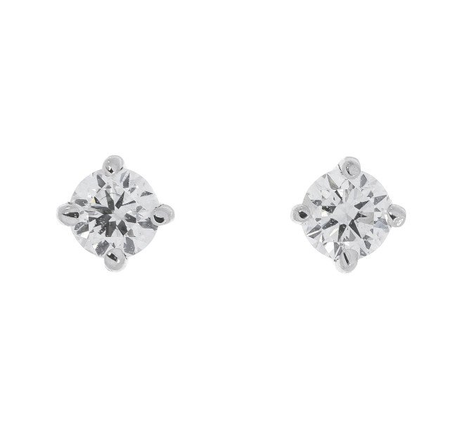 18ct White Gold 0 25ct Diamond Solitare Stud Earrings