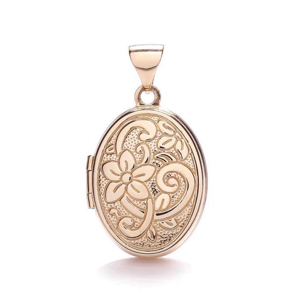 9ct Rose Gold Floral Oval Locket
