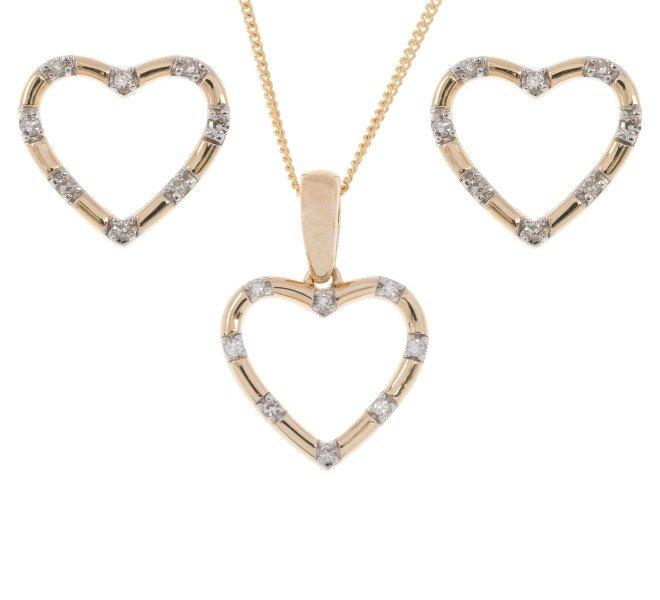 9ct Yellow Gold Diamond Heart Pendant & Earrings Set