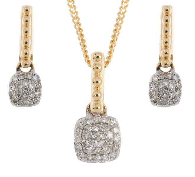 Limited Edition 9ct Yellow Gold 0 10ct Diamond Pendant Earrings Set