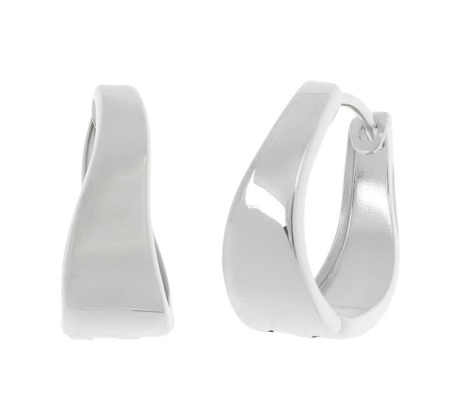 9ct White Gold Hinged Hoop Earrings
