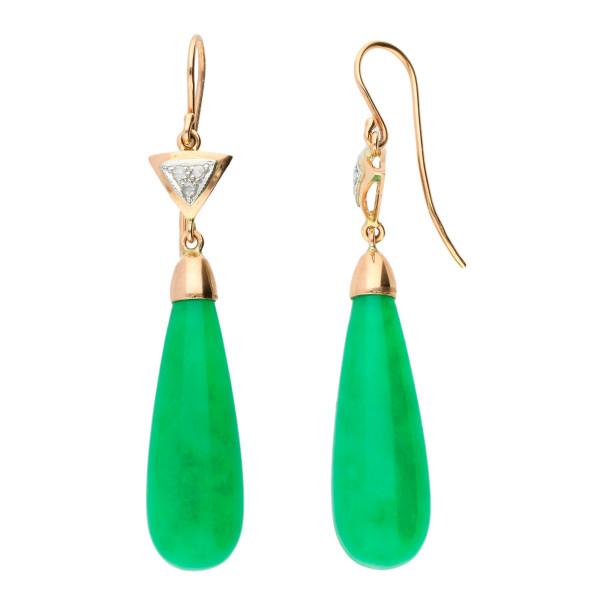 Handcrafted Italian Jade & Diamond Drop Earrings