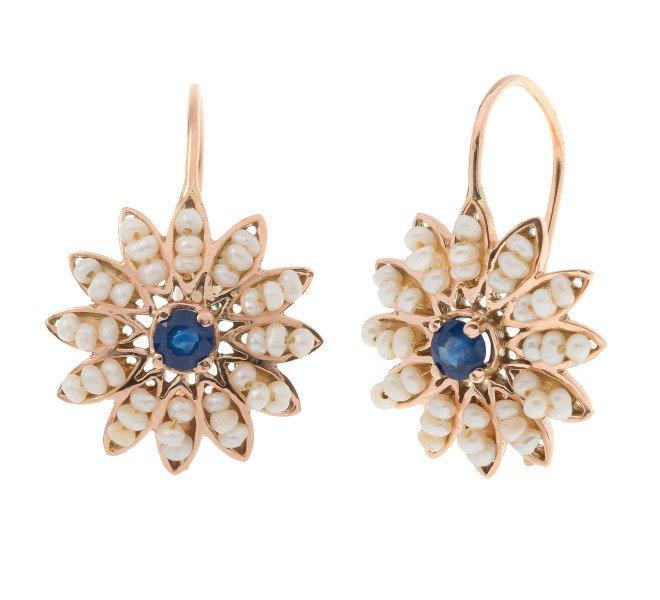 Handcrafted Italian Sapphire & Seed Pearl Flower Cluster Drop Earrings