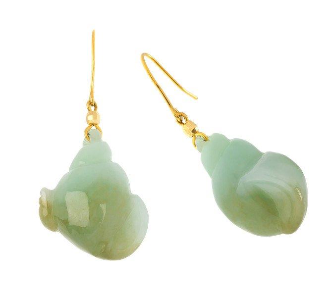 9ct Yellow Gold Fancy Jadeite Drop Earrings