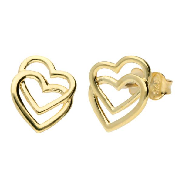 375-9ct Yellow Gold Heart Stud Earrings.