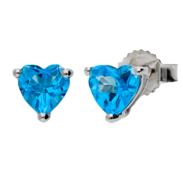 9ct White Gold Heart Topaz Solitaire Earrings