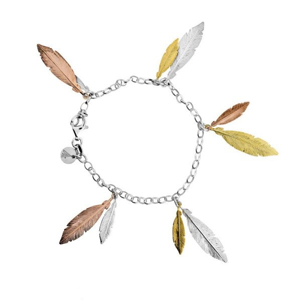 7782dc65c23a2 Sterling Silver Yellow & Rose Gold Plated Feather Bracelet | Buy ...