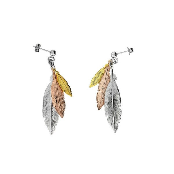 87e85a9224c66 Sterling Silver Yellow & Rose Gold Plated Feather Earrings | Buy ...