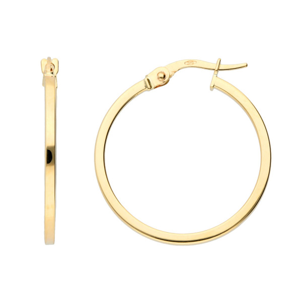 9ct Yellow Gold 23mm Square Edge Hinged Hoops