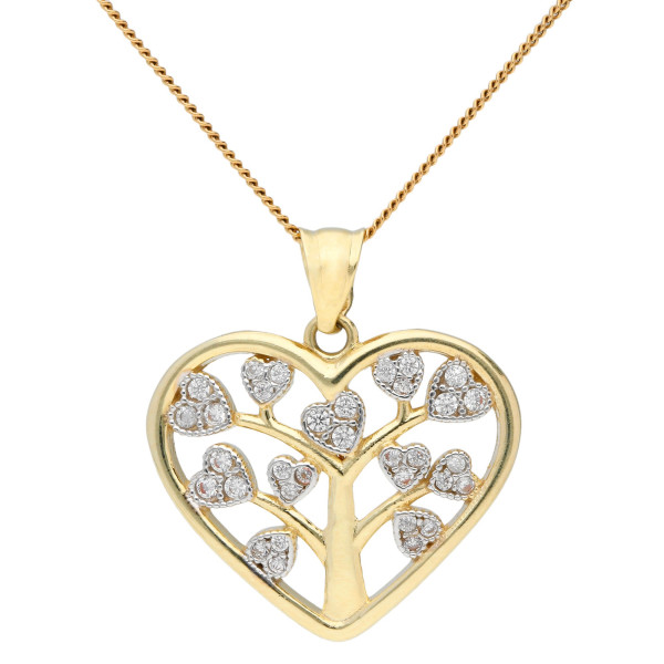 9ct Yellow Gold & Cubic Ziconia Tree Of Life Heart Pendant
