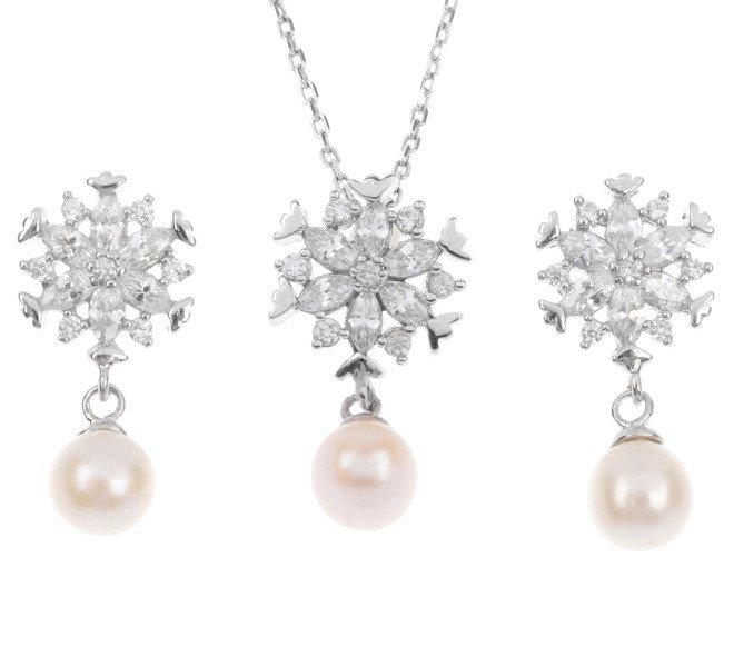 Sterling Silver Pearl Earrings & Pendant Set