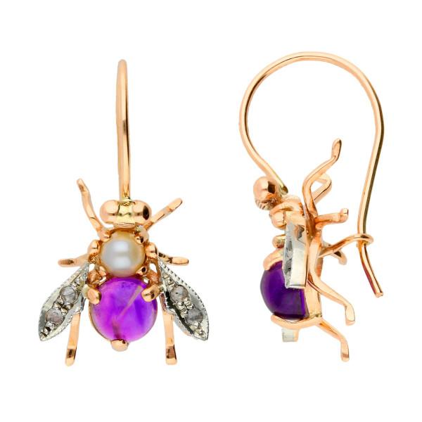 Handcrafted Italian Amethyst, Pearl & 0.10ct Diamond Bee Drop Earrings