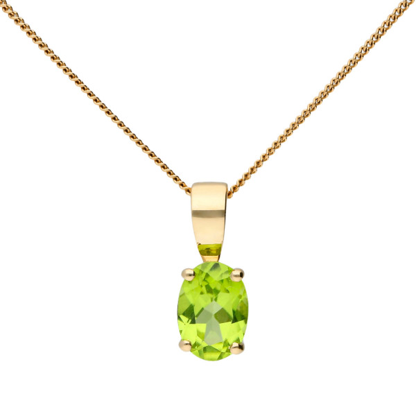 9ct Yellow Gold 0.85ct Oval Peridot Solitaire Pendant