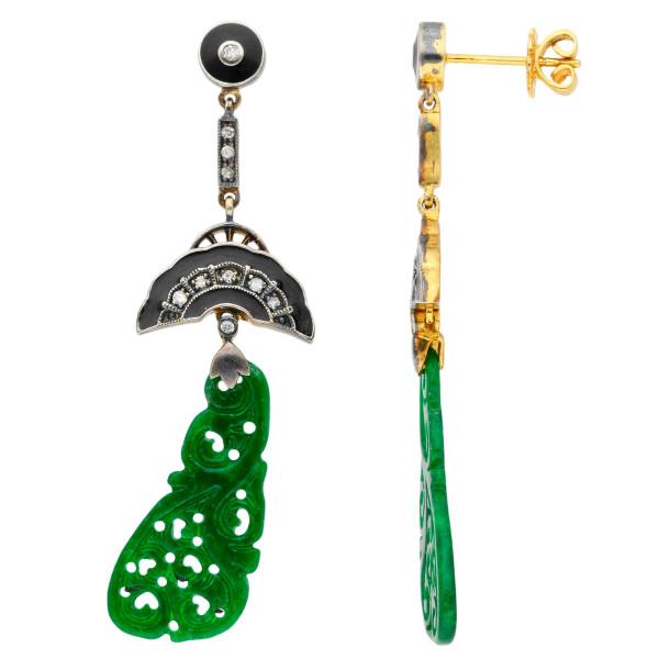 Art Deco Inspired Jadeite Diamond Enamel Drop Earrings Buy Online Free Insured Uk Delivery