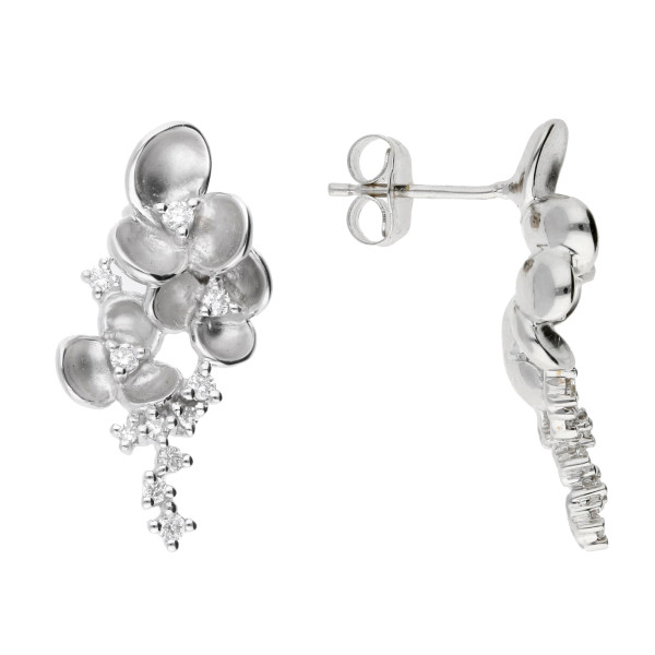 9ct White Gold 0.22ct Diamond Floral Drop Earrings