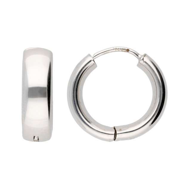 9ct White Gold 13mm Hoop Earrings