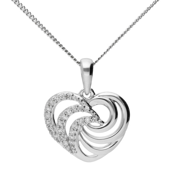 9ct White Gold & Diamond Heart Swirl Pendant