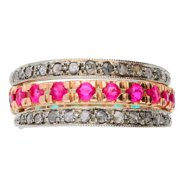 Handcrafted Italian Ruby Emerald & Diamond Hinged Eternity Ring