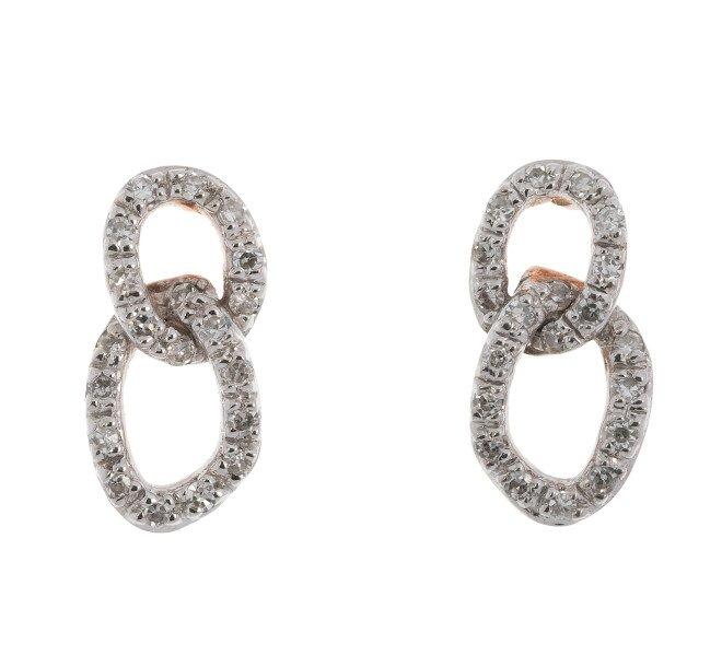 9ct Rose Gold Diamond Fancy Infinity Earrings