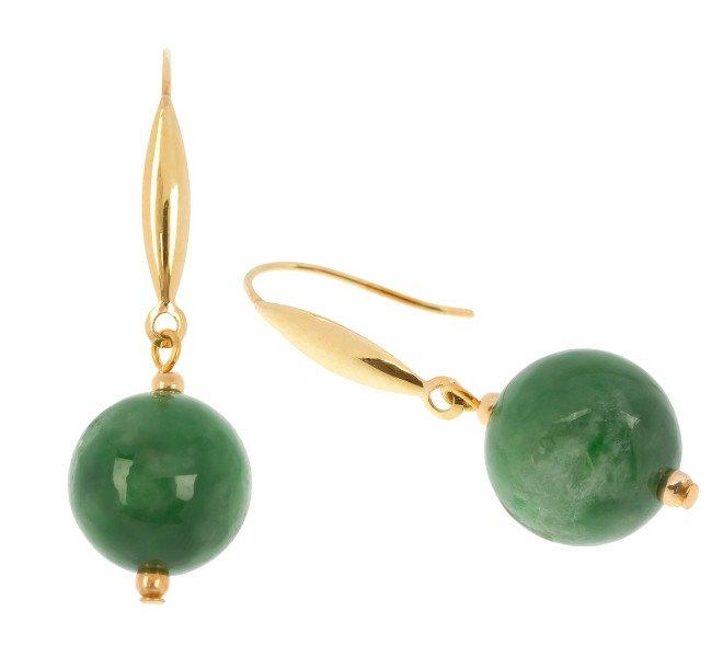 9ct Gold Jade Drop Earrings