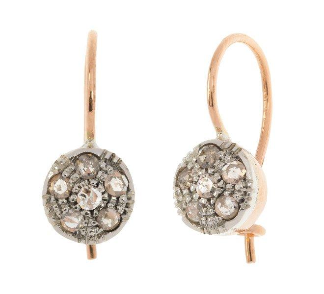 Handcrafted Italian 0.50ct Diamond Cluster Drop Earrings
