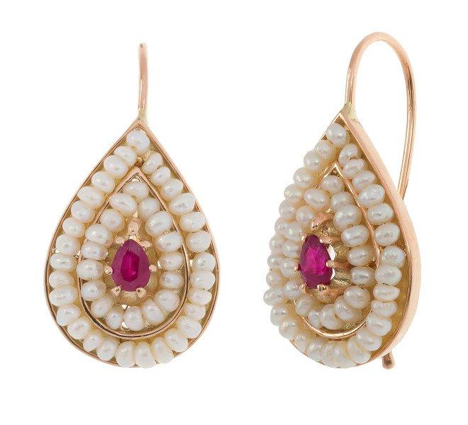 Handcrafted Italian Ruby Seed Pearl Earrings