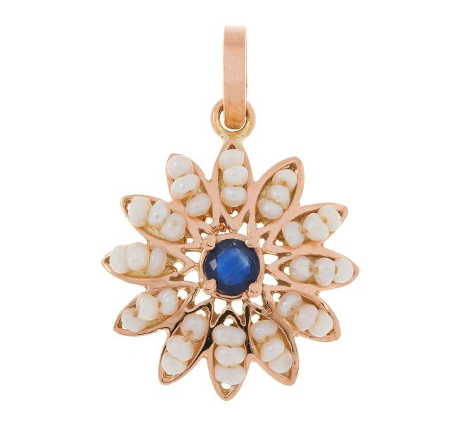 Handcrafted Italian Sapphire & Seed Pearl Flower Pendant