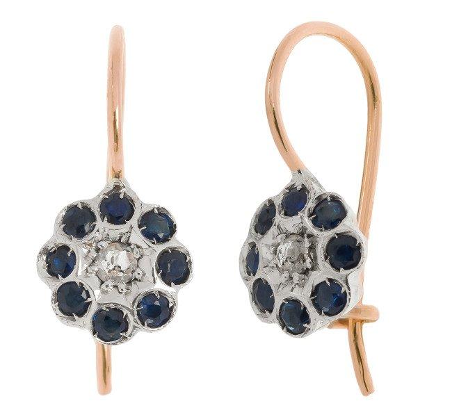 Handcrafted Italian Diamond Shire Fl Drop Earrings