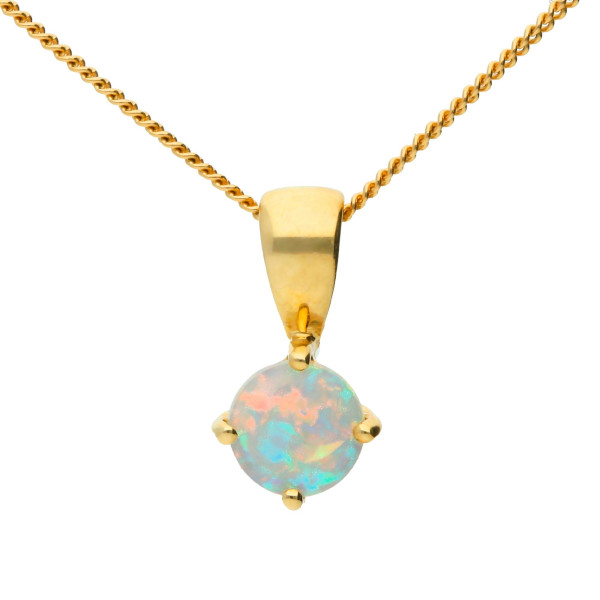 9ct Yellow Gold 5mm Opal Solitaire Round Shape Pendant