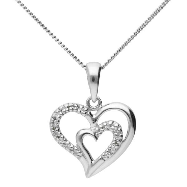 9ct White Gold 0.05ct Diamond Double Heart Pendant